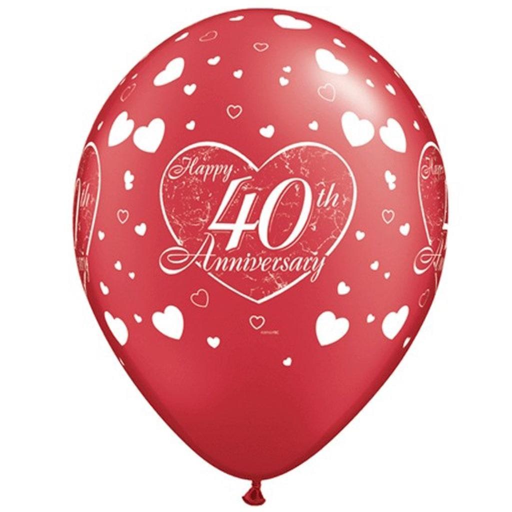 Baloes Happy 40th Latex 6 unid
