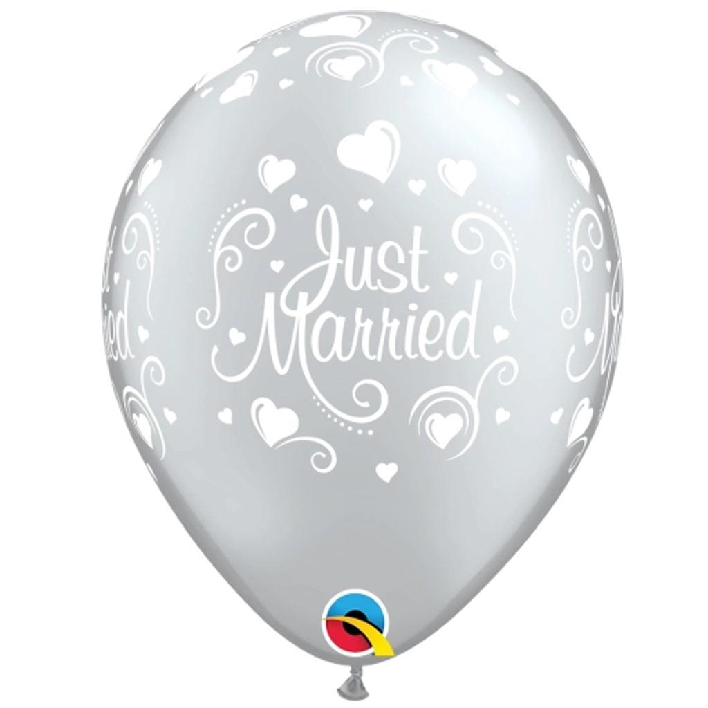 Balões Just Married Cinza Latex
