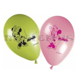 Balões Minnie Verde e Rosa, 8unid