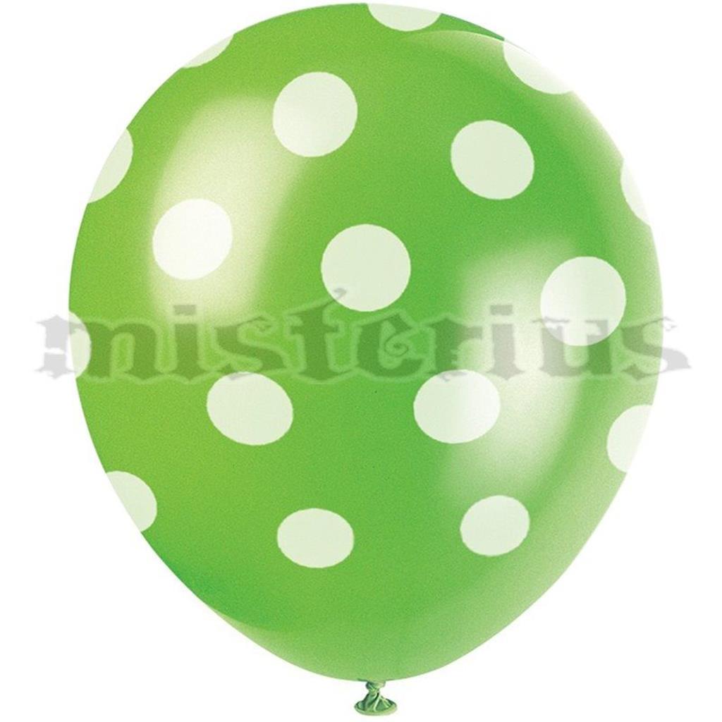 Balões Verdes Bolinhas, 6 Unid.