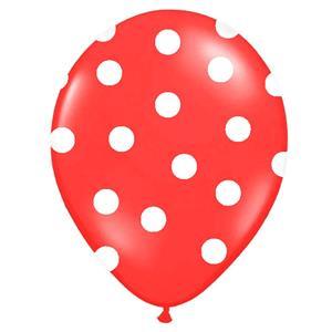 Balões Vermelhos Bolinhas, 6 Unid.