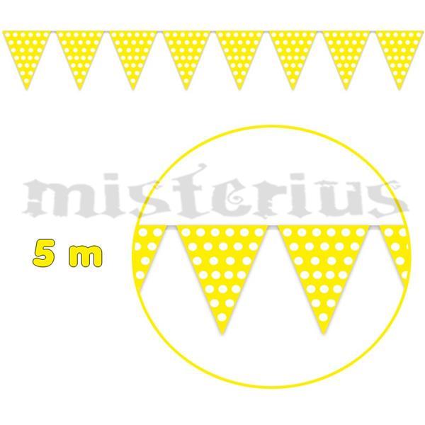 Bandeirolas Amarelas Bolas Brancas