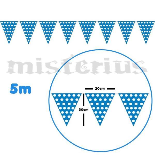 Bandeirolas azuis bolinhas brancas 5m
