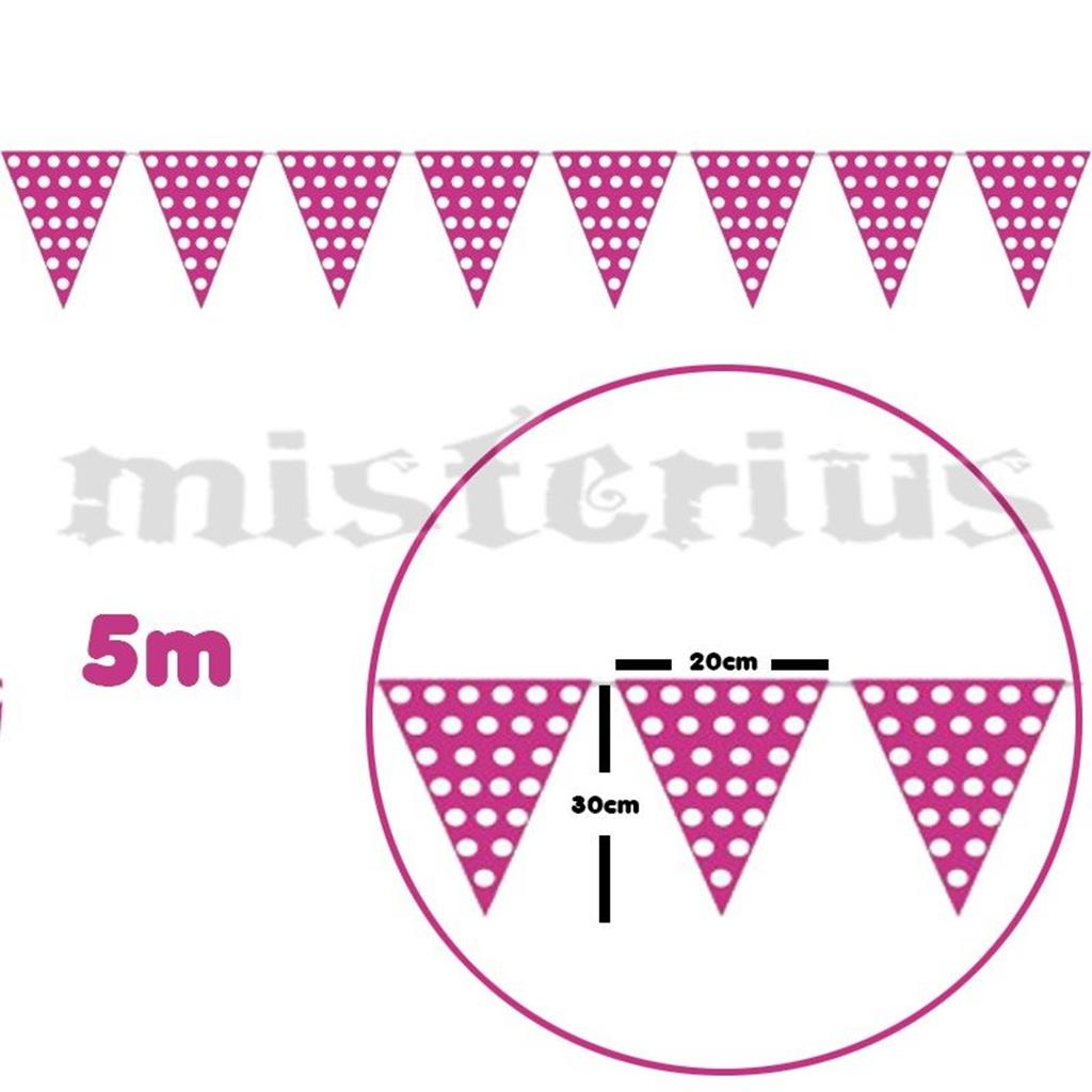Bandeirolas Rosa Bolinhas Brancas 5m