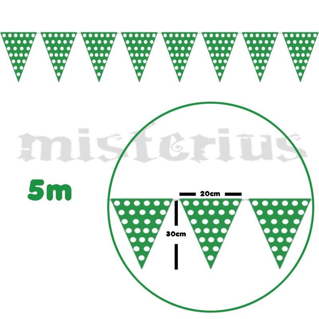Bandeirolas Verde Bolinhas Brancas 5m