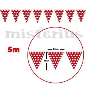 Bandeirolas Vermelhas Bolinhas Brancas 5m