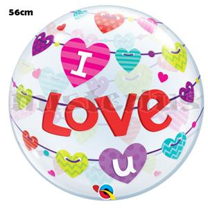 Bubble Banner I LOVE U, 56cm