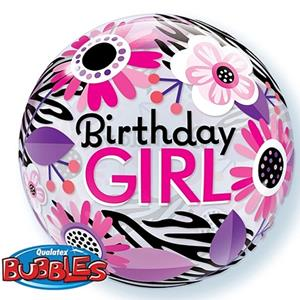 Bubble floral Zebra Happy Birthday