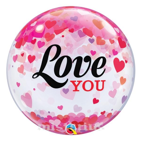 Bubble Love You Confetis Corações