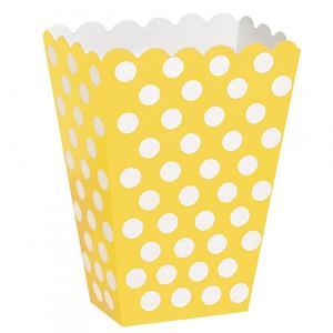 Caixas Pipocas Amarelo Bolinhas, 8 Unid.