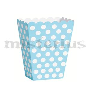 Caixas Pipocas Azul Claro Bolinhas, 8 Unid.
