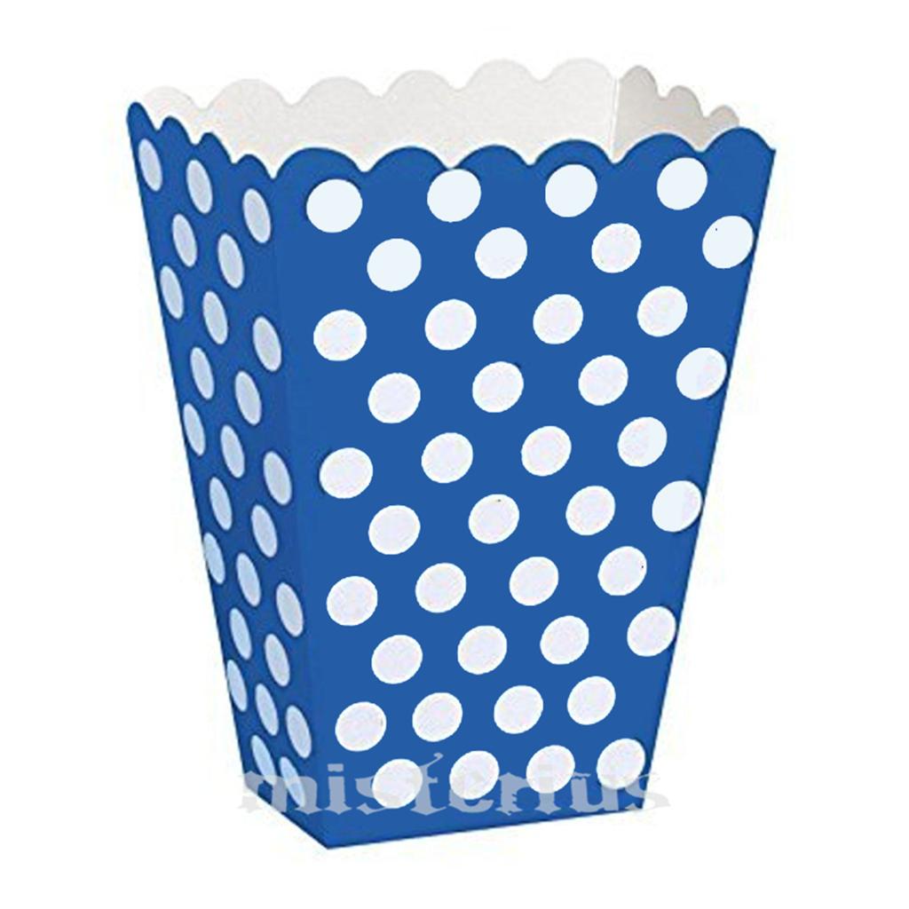 Caixas Pipocas Azul Escuro Bolinhas, 8 Unid.