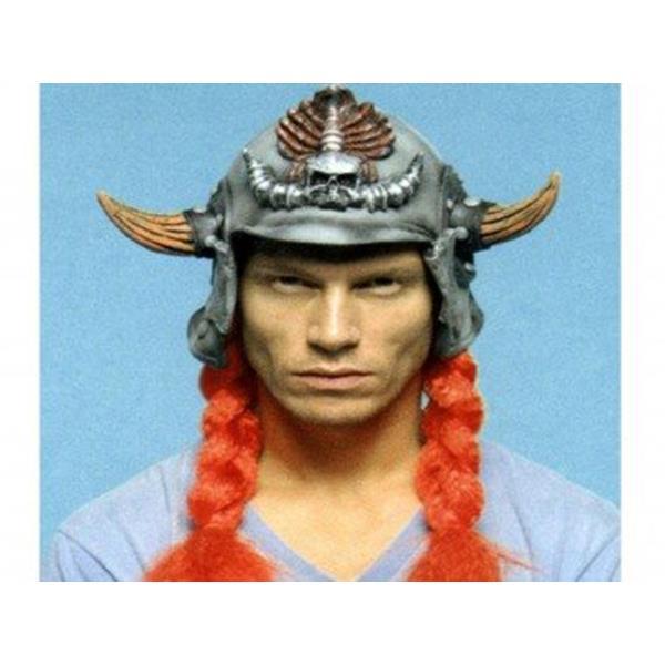 Capacete Viking com Traças Vermelhas em Latex