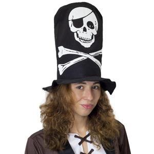 Cartola Alta Pirata em Tecido