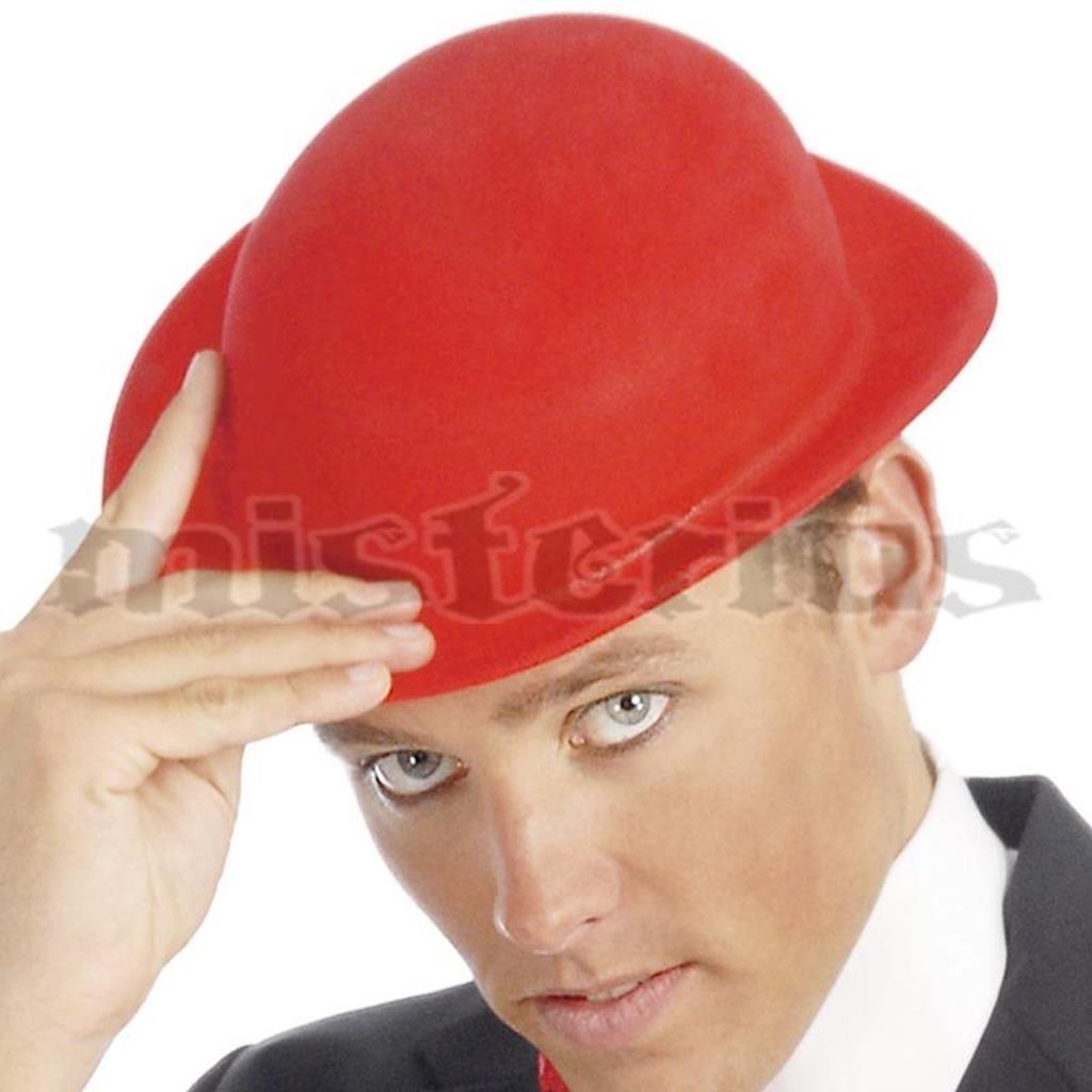 Chapeu Côco Vermelho Aveludado em Plástico