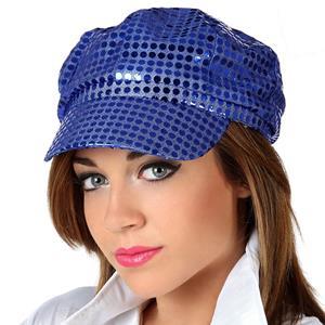 Chapéu Disco Azul com Lantejoulas