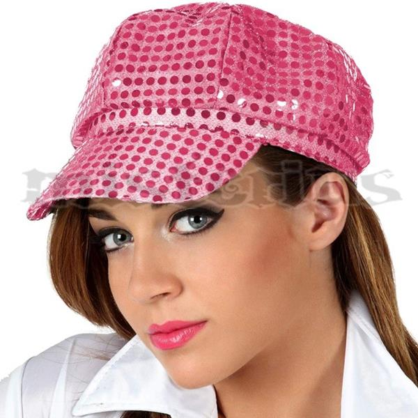 Chapéu Disco Rosa com Lantejoulas