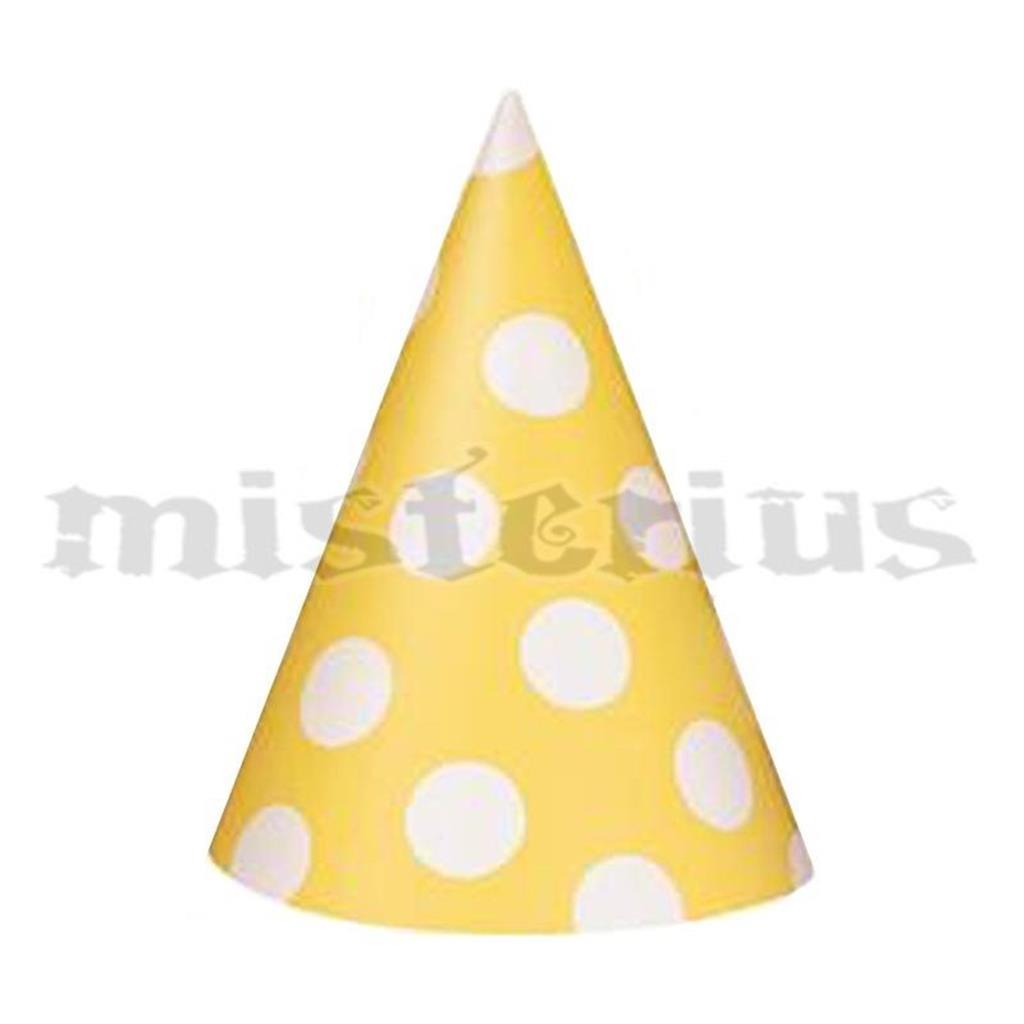 Chapéus Amarelos Bolinhas, 8 unid.
