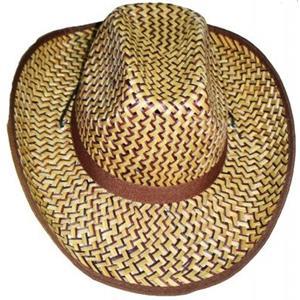 Chapéu Cowboy em Palha Castanho e Bege