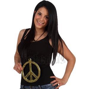Colar Símbolo Paz Hippie, 19 cm