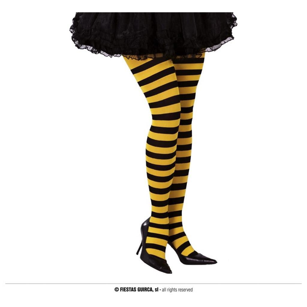 Collants Riscas Amarelo e Preto Adulto