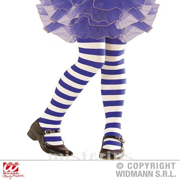 Collants Riscas Branco Azul, Criança