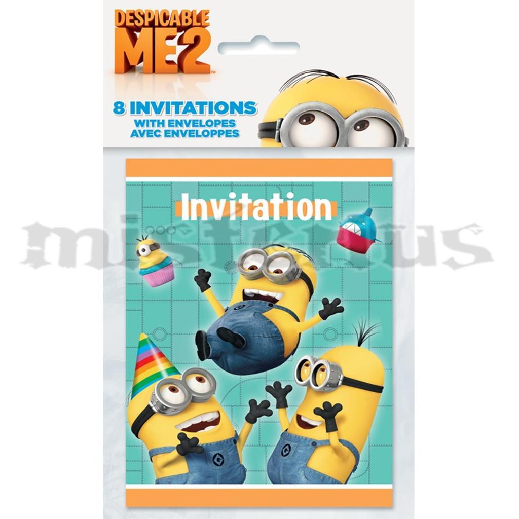 Convites Gru - O Maldisposto Minions, 8 Unid.
