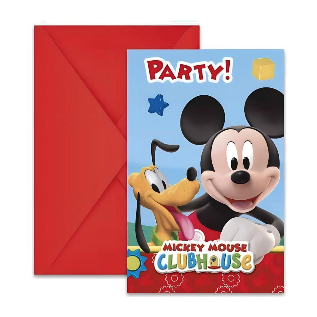 Convites Mickey, 6 Unid.