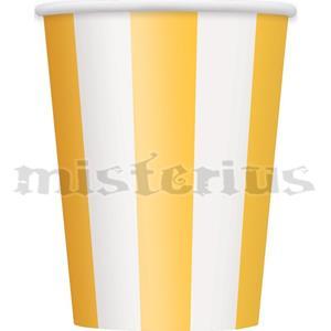 Copos Amarelos Riscas, 6 Unid.