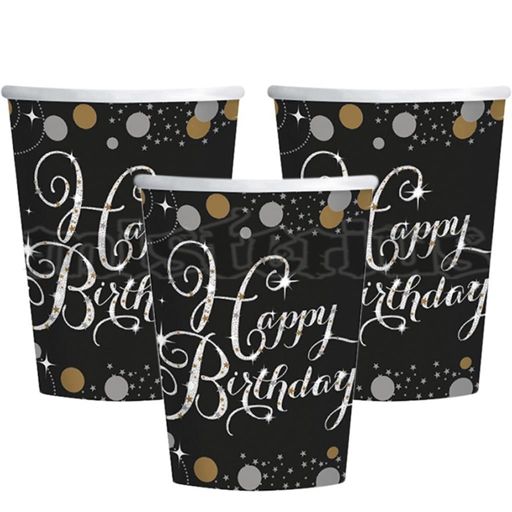 Copos Happy Birthday Sparkling, 8 Unid.