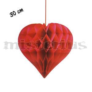 Coração Vermelho Favo Papel, 30cm