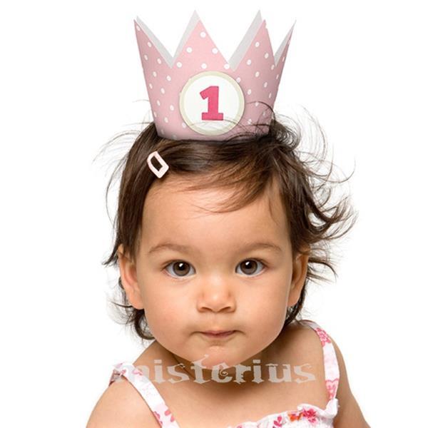 Coroa Bolinhas Menina 1 Aniversário
