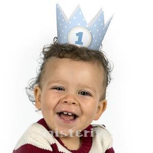 Coroa Bolinhas Menino 1 Aniversário