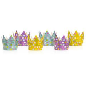 Coroas Coloridas com Bolinhas, 6 Unid.