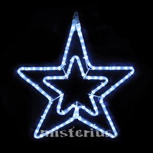 Estrela dupla cordão Led Branco Pequena