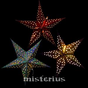 Estrela Papel Metalizado com Luz LED 60cm
