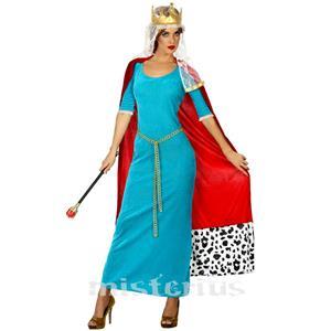 Fato Mulher Rainha Medieval Azul