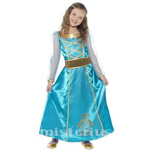 Fato Princesa Azul Medieval, Criança