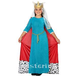 Fato Rainha Medieval Azul, Criança