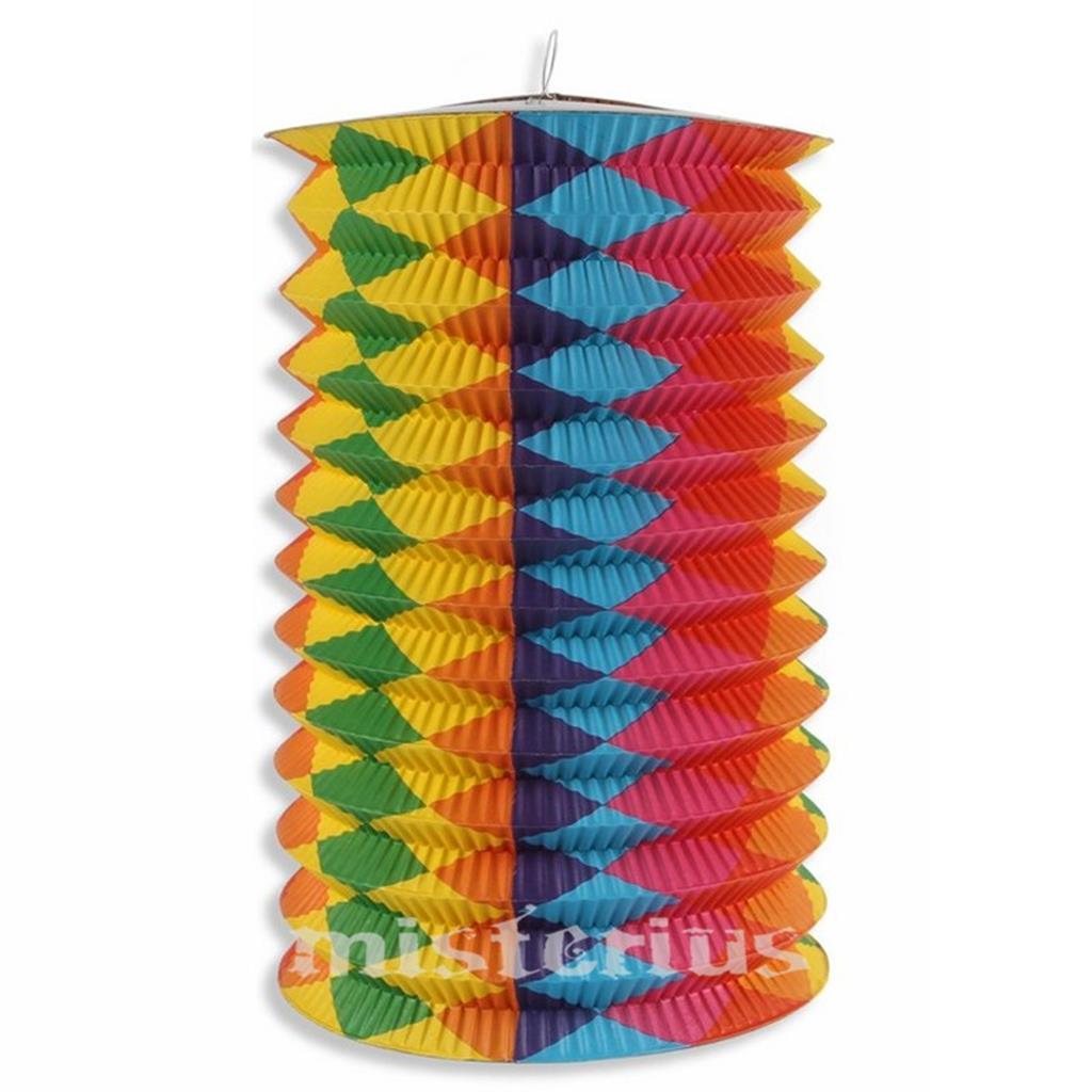 Lanterna Faixas Multicor, 15 cm - Festas Populares