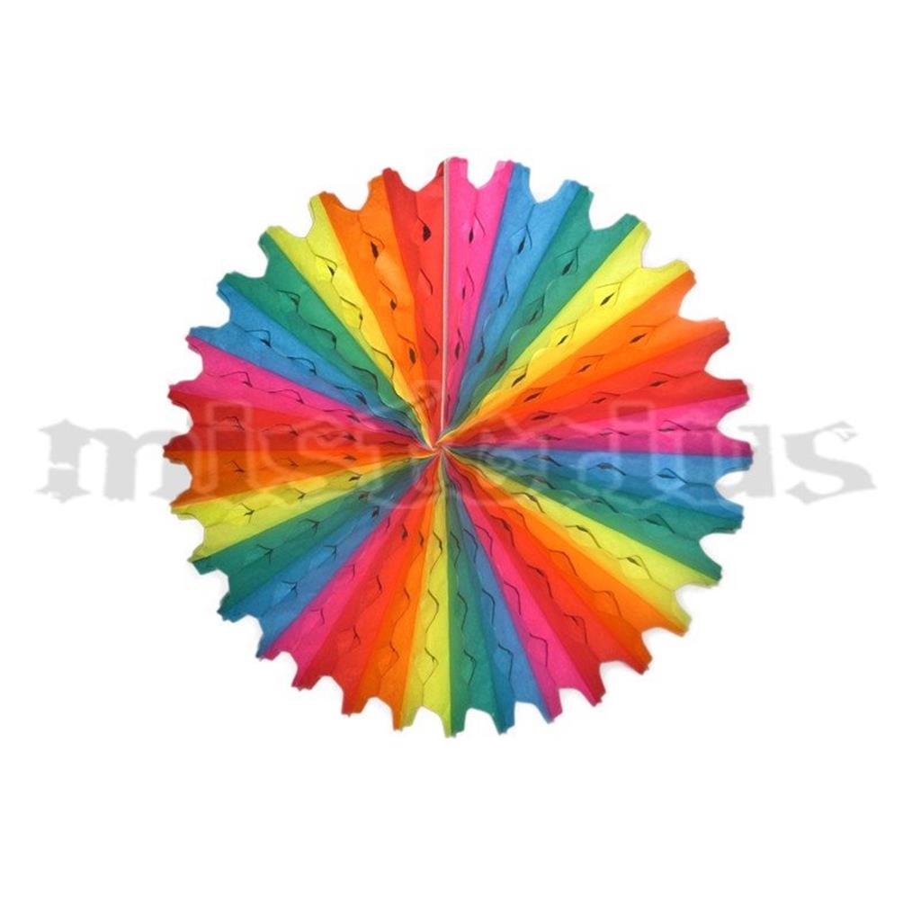 Leque Papel Multicolor Ondas 20 cm