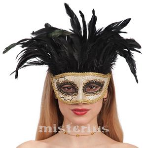 Máscara Dourada Com Plumas