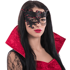 Máscara Vermelha/Preta Veneziana