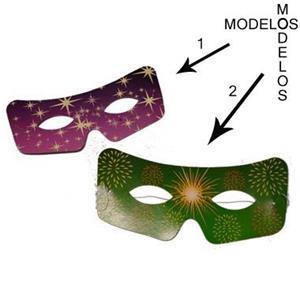 Mascarilhas de cartolina (padrão Fogo Artifício / Estrelas )