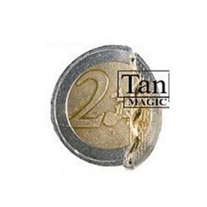 Moeda Mordida de 2 euros com pedaço de moeda extra