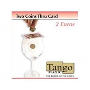 2 moedas atravessam a Carta 2 euros  - Two Coins thru Card 2