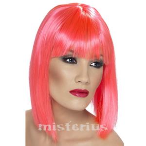 Peruca Curta Rosa Neon