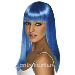 Peruca Neon Comprida Azul