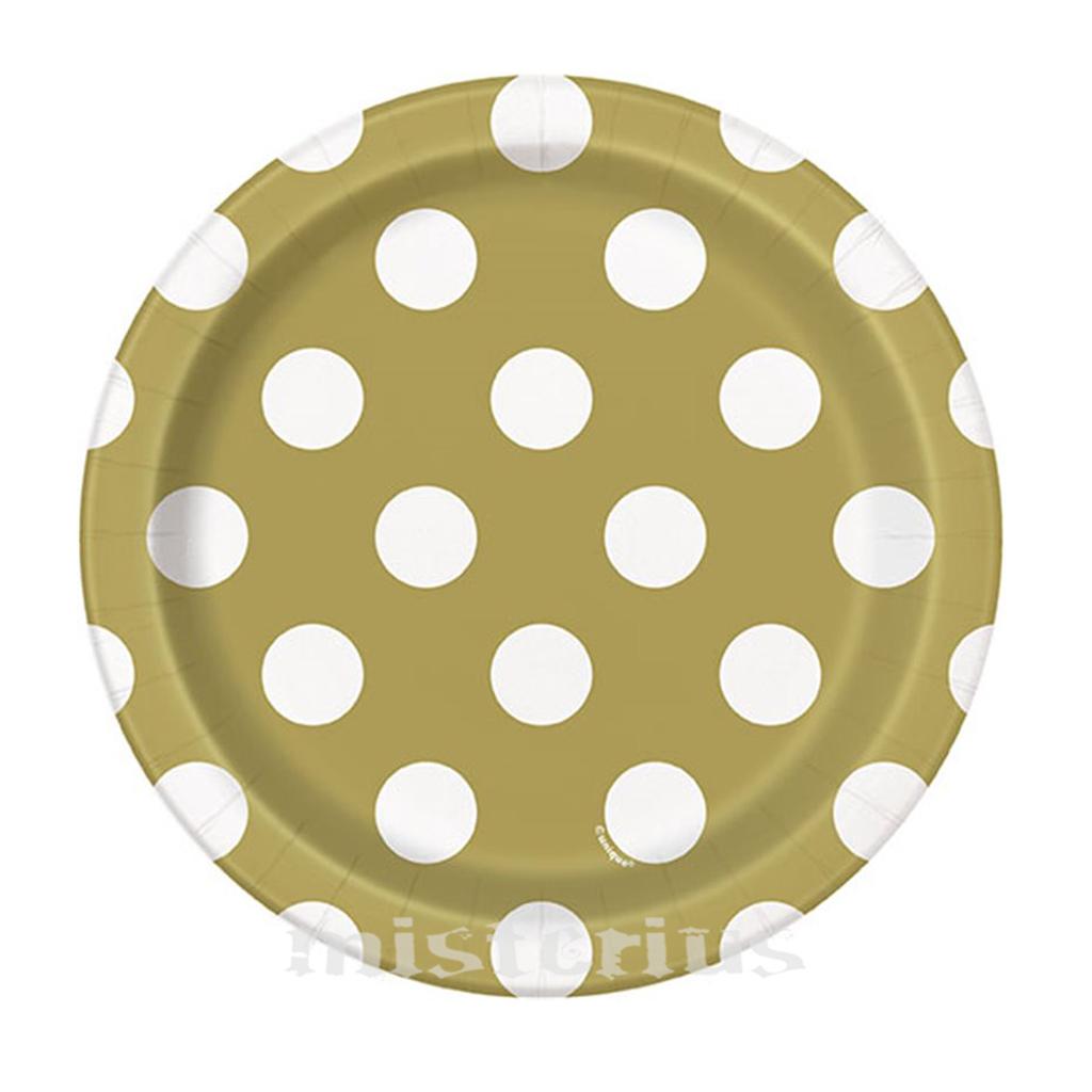 Prato Dourado Bolinhas Peq, 8 Unid.
