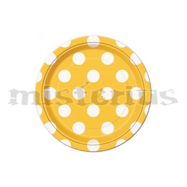 Pratos Amarelos Bolinhas, 8 unid.